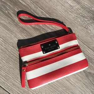 Kate Spade small red white stripe wristlet